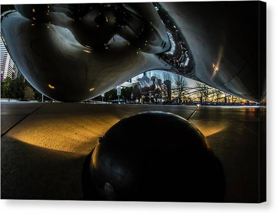 Cloudgate Canvas Print - Underneath Chicago's Cloud Gate At Dawn  by Sven Brogren