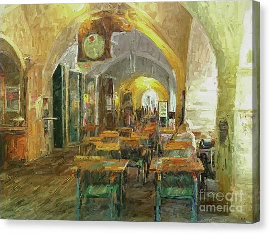 Underneath The Arches - Street Cafe, Prague Canvas Print