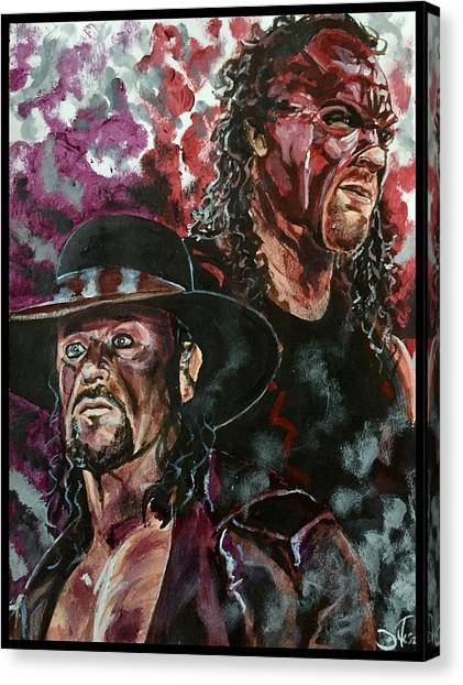 Wwe Canvas Print - Undertaker And Kane by Joel Tesch