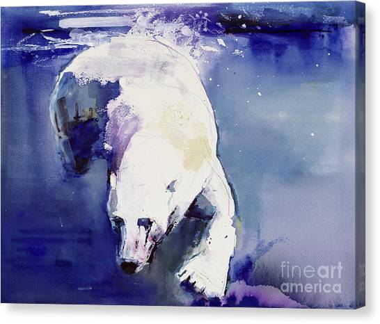 Polar Bears Canvas Print - Underwater Bear by Mark Adlington