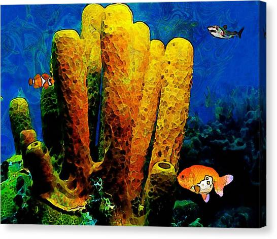 Seahorse Canvas Print - Underwater. Coral Reef. by Elena Kosvincheva