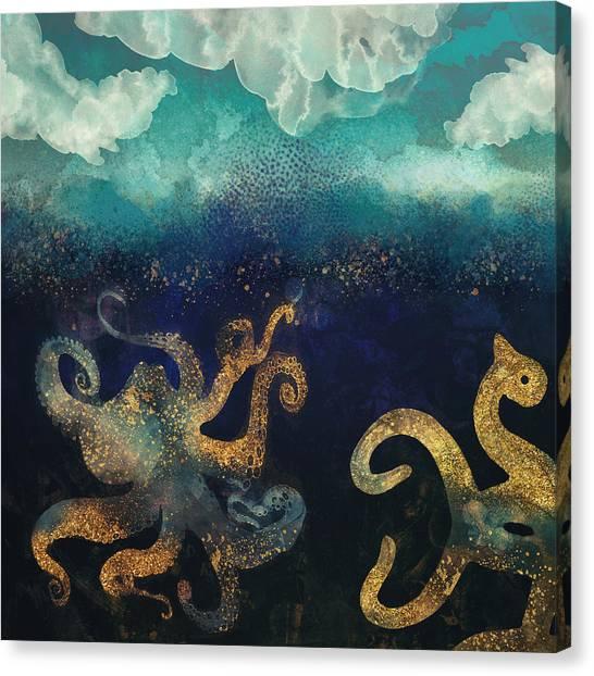 Squids Canvas Print - Underwater Dream II by Spacefrog Designs