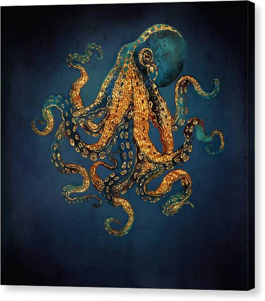 Octopus Canvas Print - Underwater Dream Iv by Spacefrog Designs
