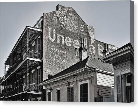 Nabisco Canvas Print - Uneeda 5 Cent Biscuit Company In B/w - New Orleans by Greg Jackson