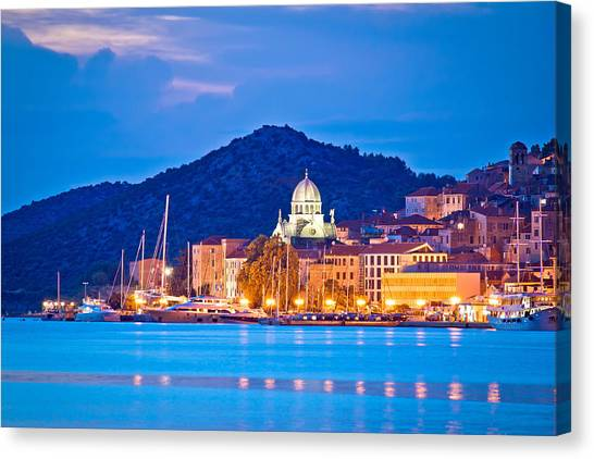 Unesco Town Of Sibenik Blue Hour View Canvas Print