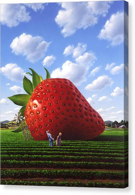 Strawberry Canvas Print - Unexpected Growth by Jerry LoFaro