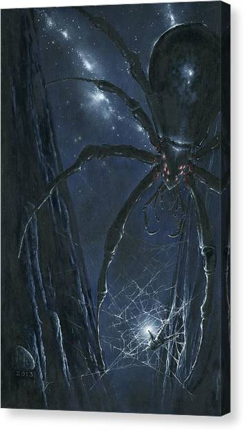 Canvas Print featuring the painting Ungoliant Ensnares Morgoth by Kip Rasmussen