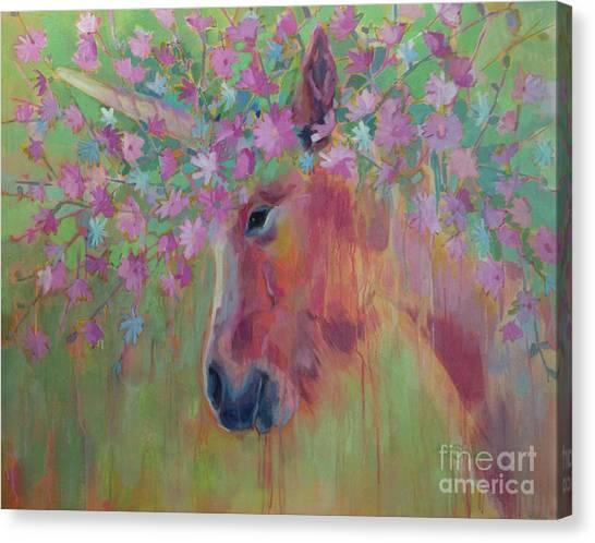 Unicorns Canvas Print - Uni Corn Flower II by Kimberly Santini