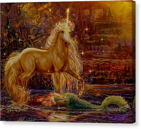 Unicorn And The Mermaid Mother Canvas Print