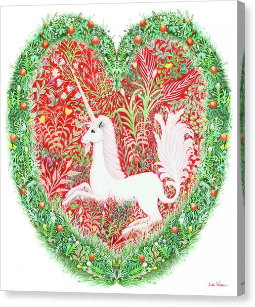 Unicorn Heart With Millefleurs Canvas Print