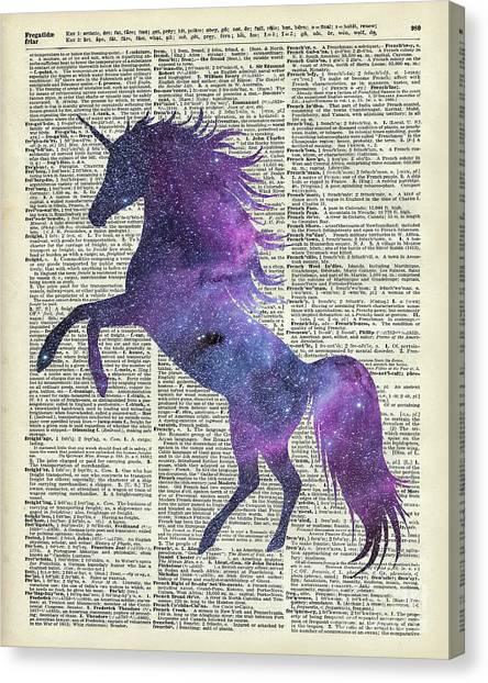 Unicorns Canvas Print - Unicorn In Space by Anna W