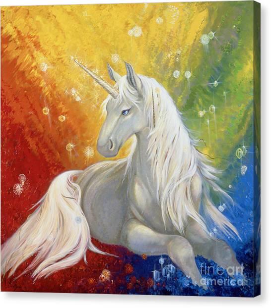 Unicorn Rainbow Canvas Print by Silvia  Duran