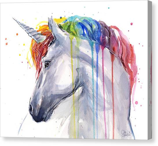 White Horse Canvas Print - Unicorn Rainbow Watercolor by Olga Shvartsur