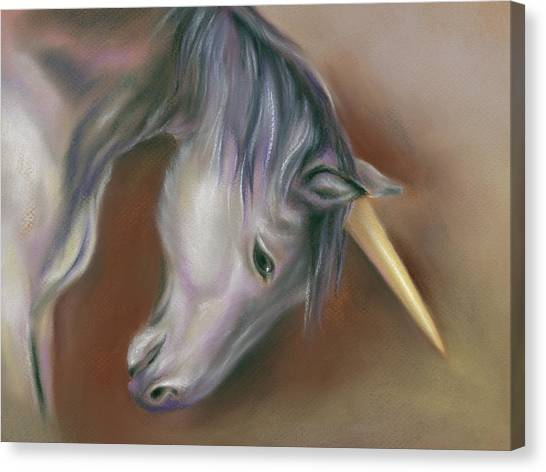 Canvas Print featuring the pastel Unicorn With A Golden Horn by MM Anderson