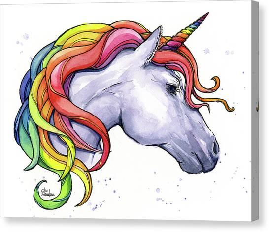 Unicorns Canvas Print - Unicorn With Rainbow Mane by Olga Shvartsur