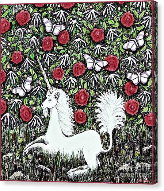 Unicorn With Red Roses And Butterflies Canvas Print