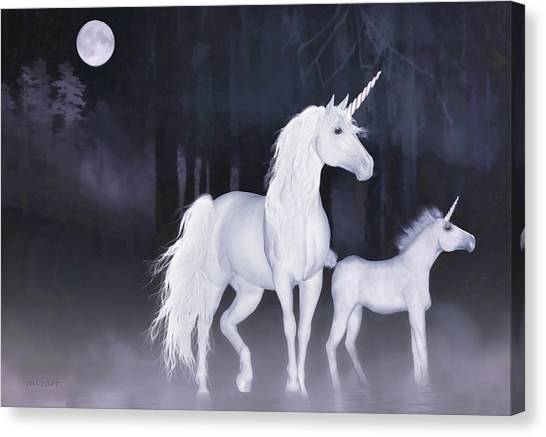 Unicorns In The Mist Canvas Print
