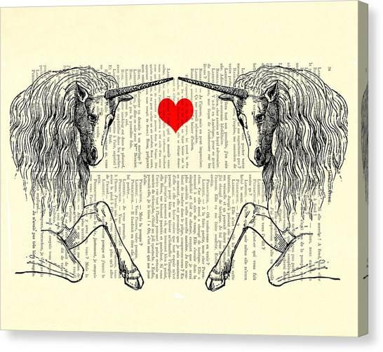 Unicorns Canvas Print - Unicorns Love by Madame Memento