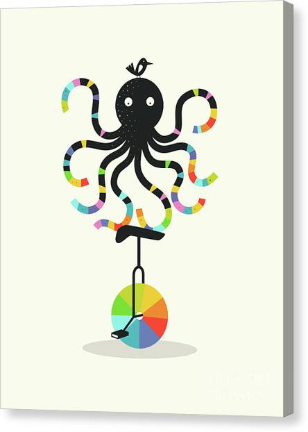 Octopus Canvas Print - Unicycle Octopus by Jazzberry Blue