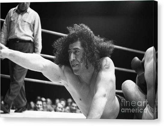 Wrestling Canvas Print - Unidentified Wrestler 2 by The Harrington Collection