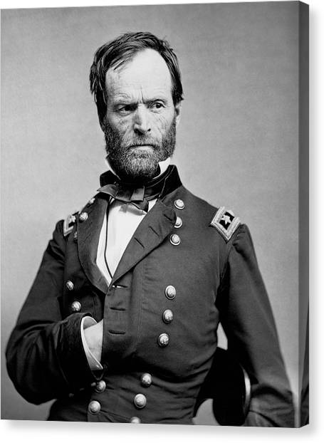 Confederate Army Canvas Print - Union General William Tecumseh Sherman 1865 by Daniel Hagerman