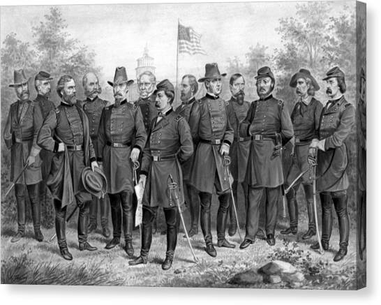 North American Canvas Print - Union Generals Of The Civil War  by War Is Hell Store