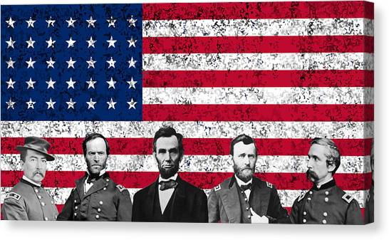 Abraham Lincoln Canvas Print - Union Heroes And The American Flag by War Is Hell Store