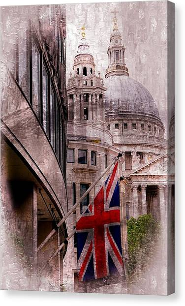 Union Jack By St. Paul's Cathdedral Canvas Print