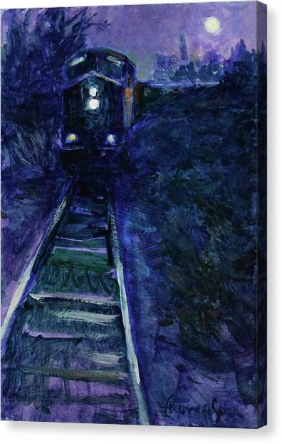 Freight Trains Canvas Print - Union Pacific At Night by Tracie Thompson