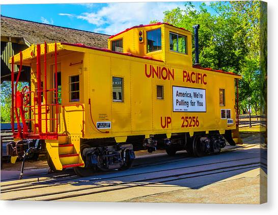 Old Caboose Canvas Print - Union Pacific Caboose by Garry Gay