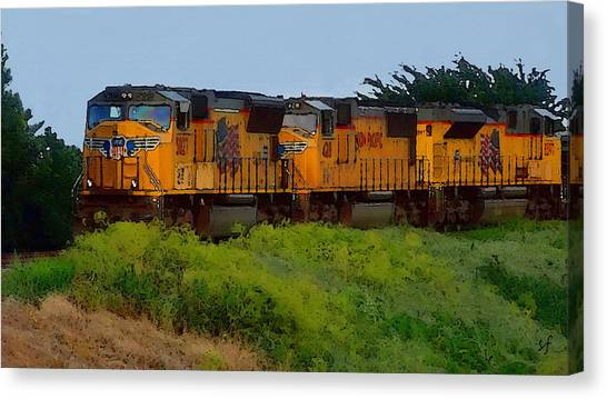 Canvas Print featuring the digital art Union Pacific Line by Shelli Fitzpatrick