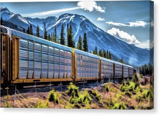 Freight Trains Canvas Print - Union Pacific Mountain Freight Train by Christopher Arndt