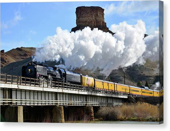 Union Pacific Steam Engine 844 And Castle Rock Canvas Print