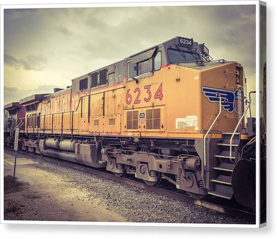 Industrial Canvas Print - Union Pacific Train In Waiting by Alexis Fleisig