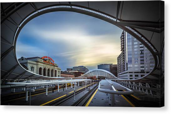 Modern Architecture Canvas Print - Union Station Denver - Slow Sunset by Jan Abadschieff