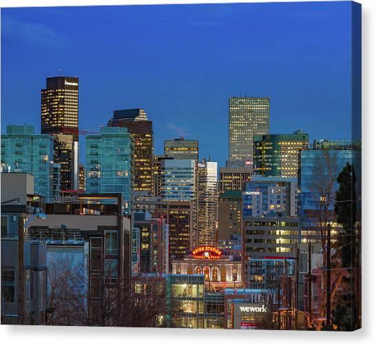 Interstates Canvas Print - Union Station During Blue Hour - Denver, Colorado by Bridget Calip