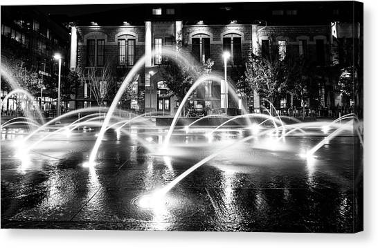 Canvas Print featuring the photograph Union Station Fountains by Stephen Holst