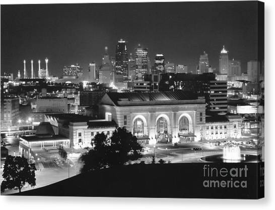 Kansas city skyline canvas print union station in black and white by crystal nederman