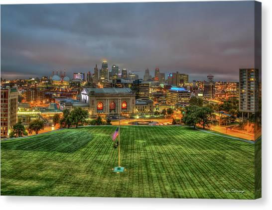 Kansas City Royals Canvas Print - Union Station Memorial View Kansas City Missouri Sunrise Art  by Reid Callaway