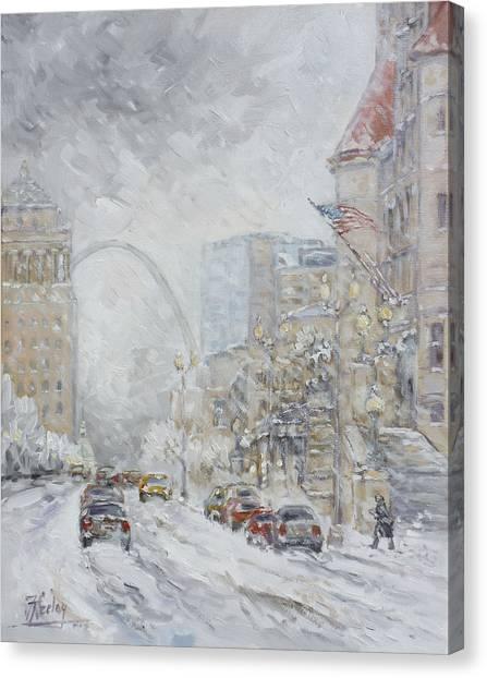 Canvas Print - Union Station, St.louis - Winter Storm by Irek Szelag