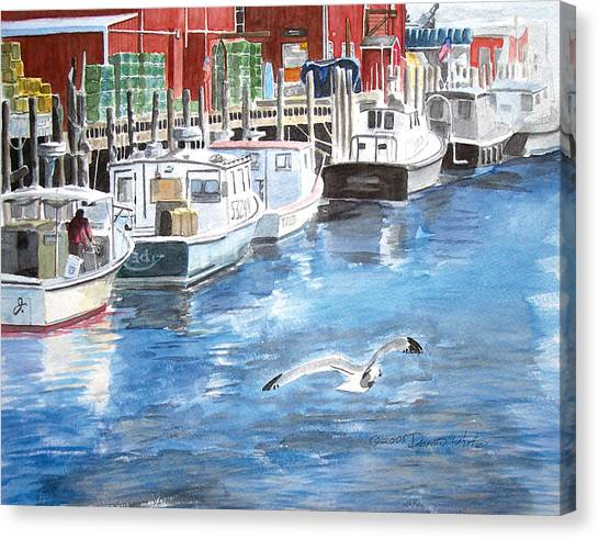 Canvas Print featuring the painting Union Wharf by Dominic White