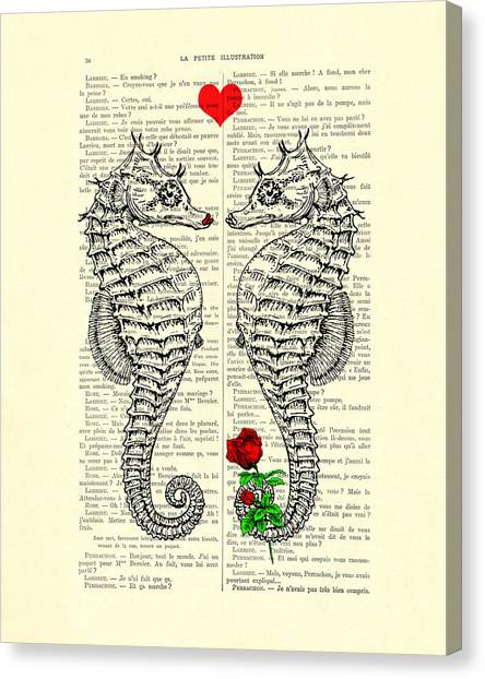 Wedding Day Canvas Print - Unique Valentines Day Gift Ideas, Seahorses by Madame Memento