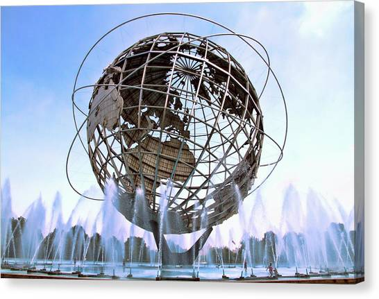 Canvas Print featuring the photograph Unisphere With Fountains by Bob Slitzan