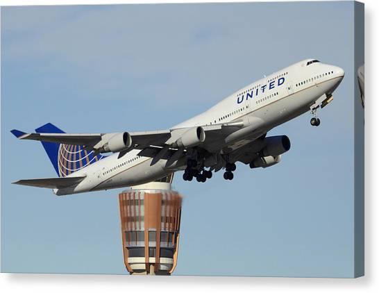 United Boeing 747-422 N128ua Phoenix Sky Harbor January 2 2015 Canvas Print