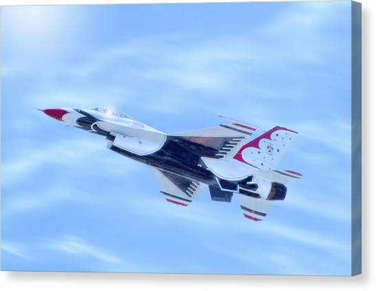 Air Traffic Control Canvas Print - United States Air Force F-16 Thunderbird by Mark Andrew Thomas