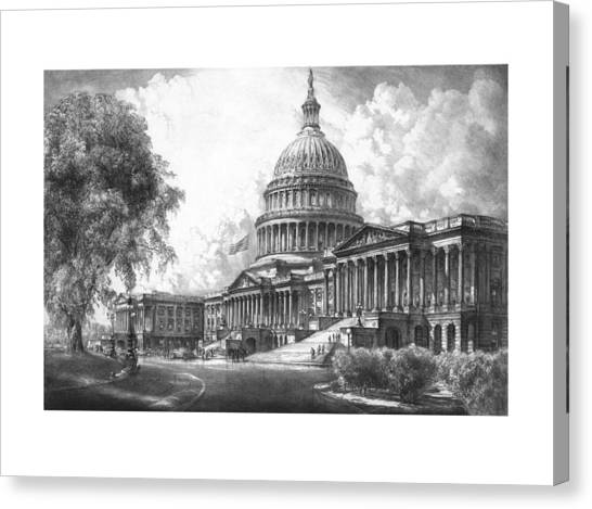 Capitol Building Canvas Print - United States Capitol Building by War Is Hell Store