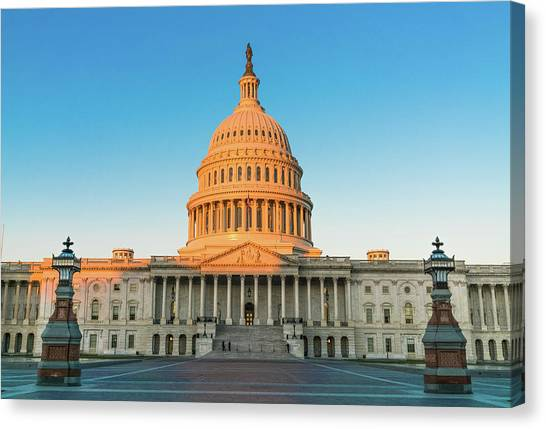Lincoln Memorial Canvas Print - United States Capitol  by Larry Marshall