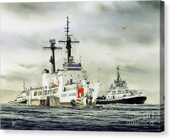 Coast Guard Canvas Print - United States Coast Guard Boutwell by James Williamson
