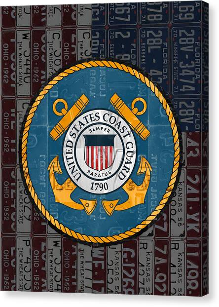 Coast Guard Canvas Print - United States Coast Guard Logo Recycled Vintage License Plate Art by Design Turnpike