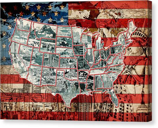 United States Drawing Collage Map 6 Canvas Print